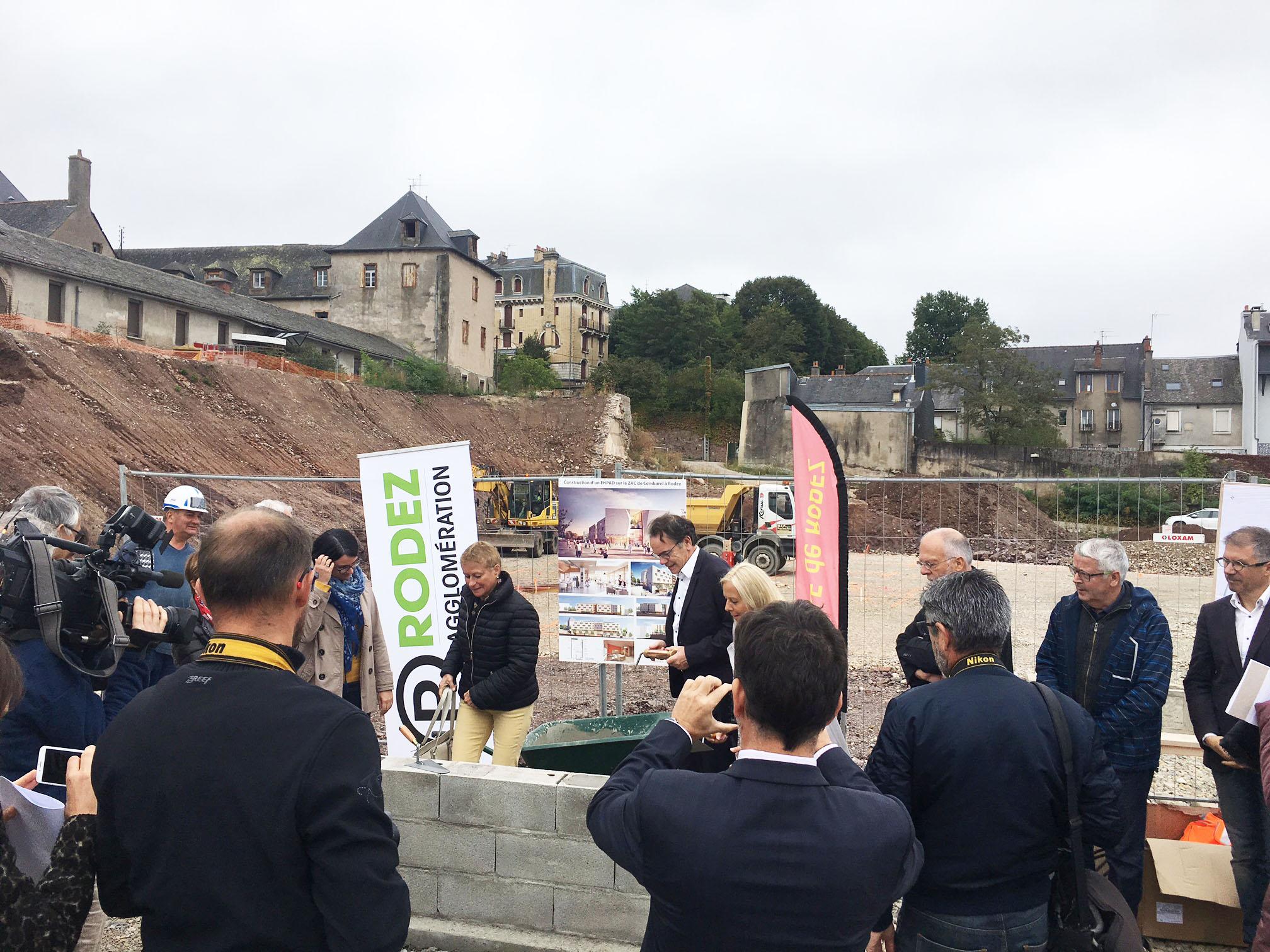 Pose de la 1ere pierre EHPAD Combarel Rodez le 13 septembre 2017