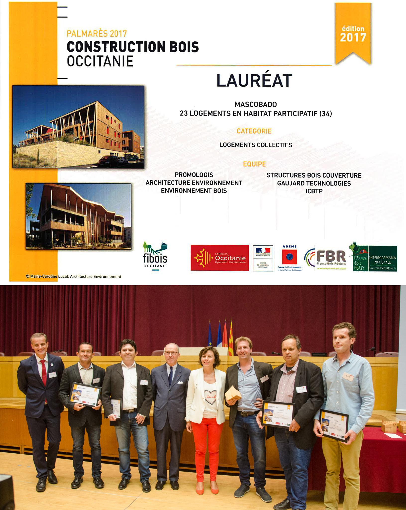 Lauréat du Palmarès Construction Bois Occitanie 2017 pour la réalisation de Mascobado, 23 logements en habitat participatif à Montpellier.