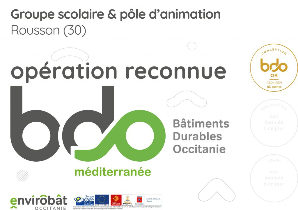 Attestation BDO Or Groupe scolaire et pôle animation Rousson