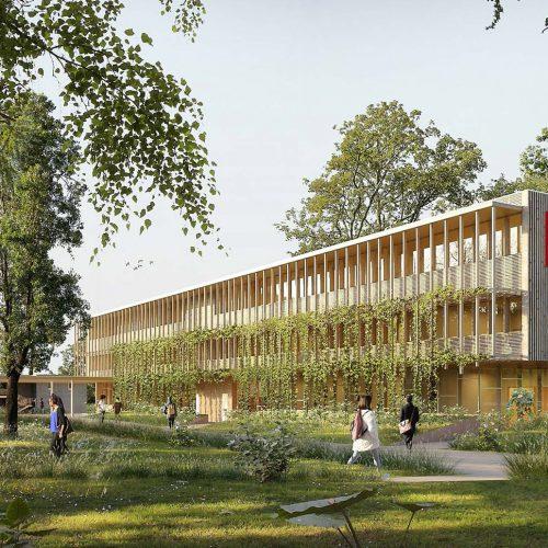 Perspective sur le bâtiment B du lycée Charlemagne, Carcassonne