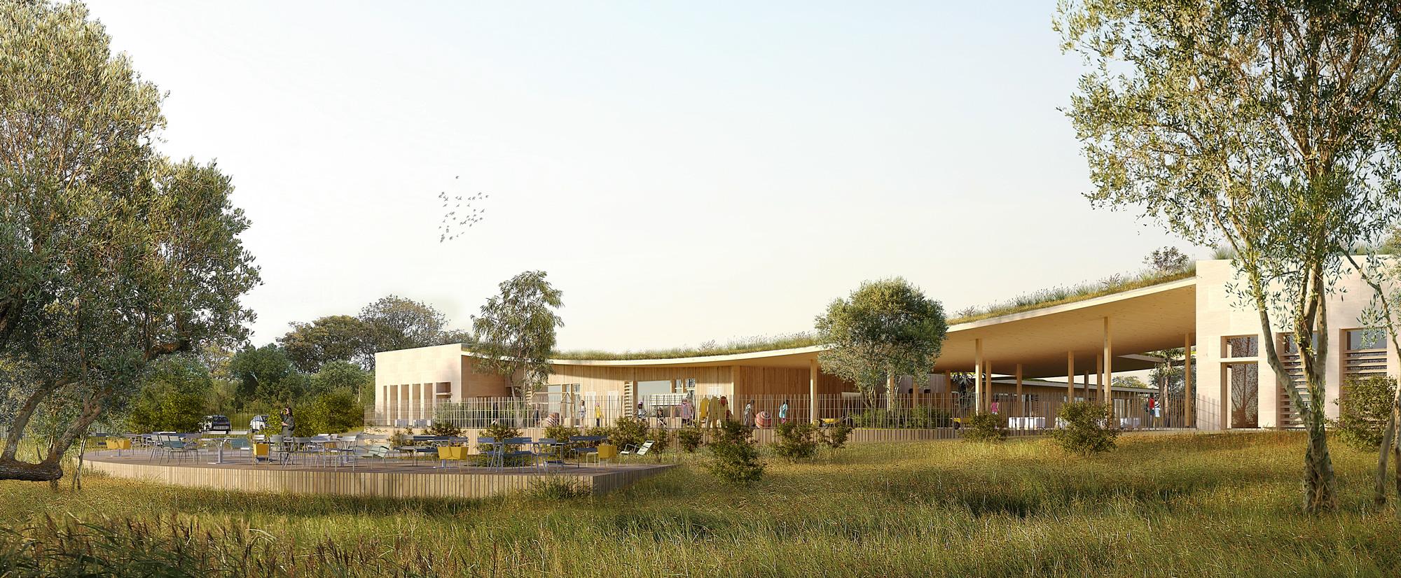 Perspective sur la cour du nouveau groupe scolaire, atelier pour les services municipaux et salle