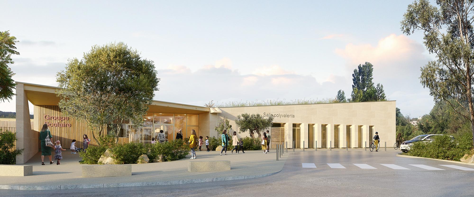 Perspective sur l'entrée du nouveau groupe scolaire, atelier pour les services municipaux et salle