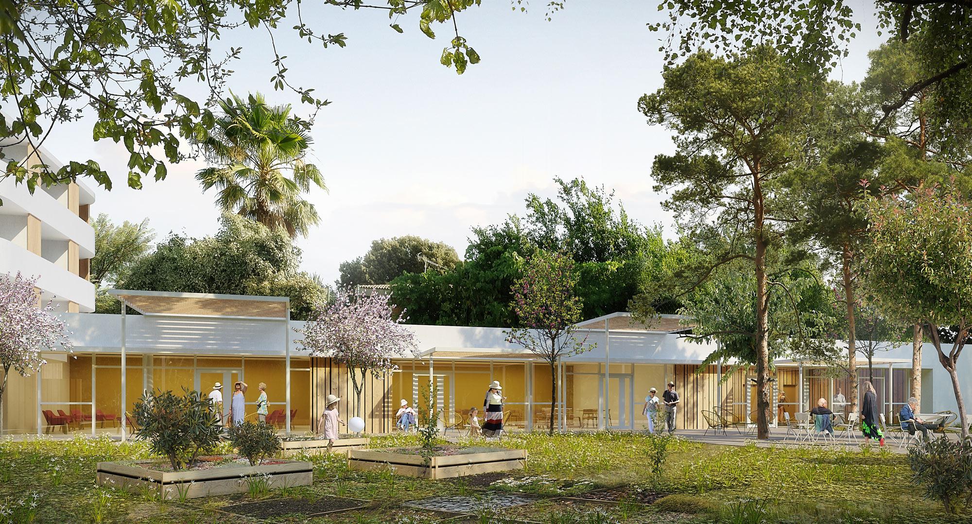 Perspective depuis le parc paysager - Résidence autonomie Jean Péridier de 55 logements Montpellier