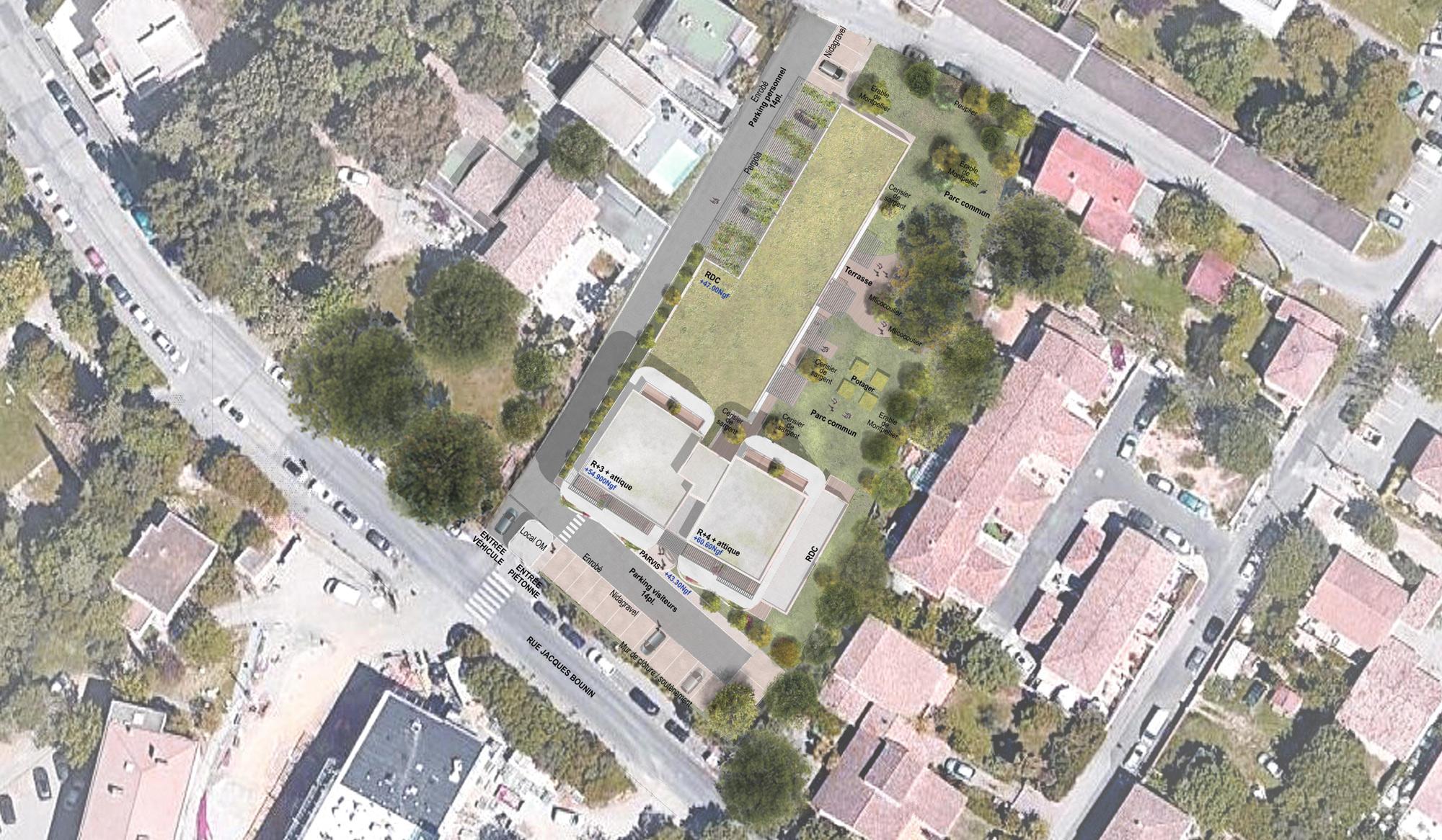 Plan de masse - Résidence autonomie Jean Péridier de 55 logements Montpellier