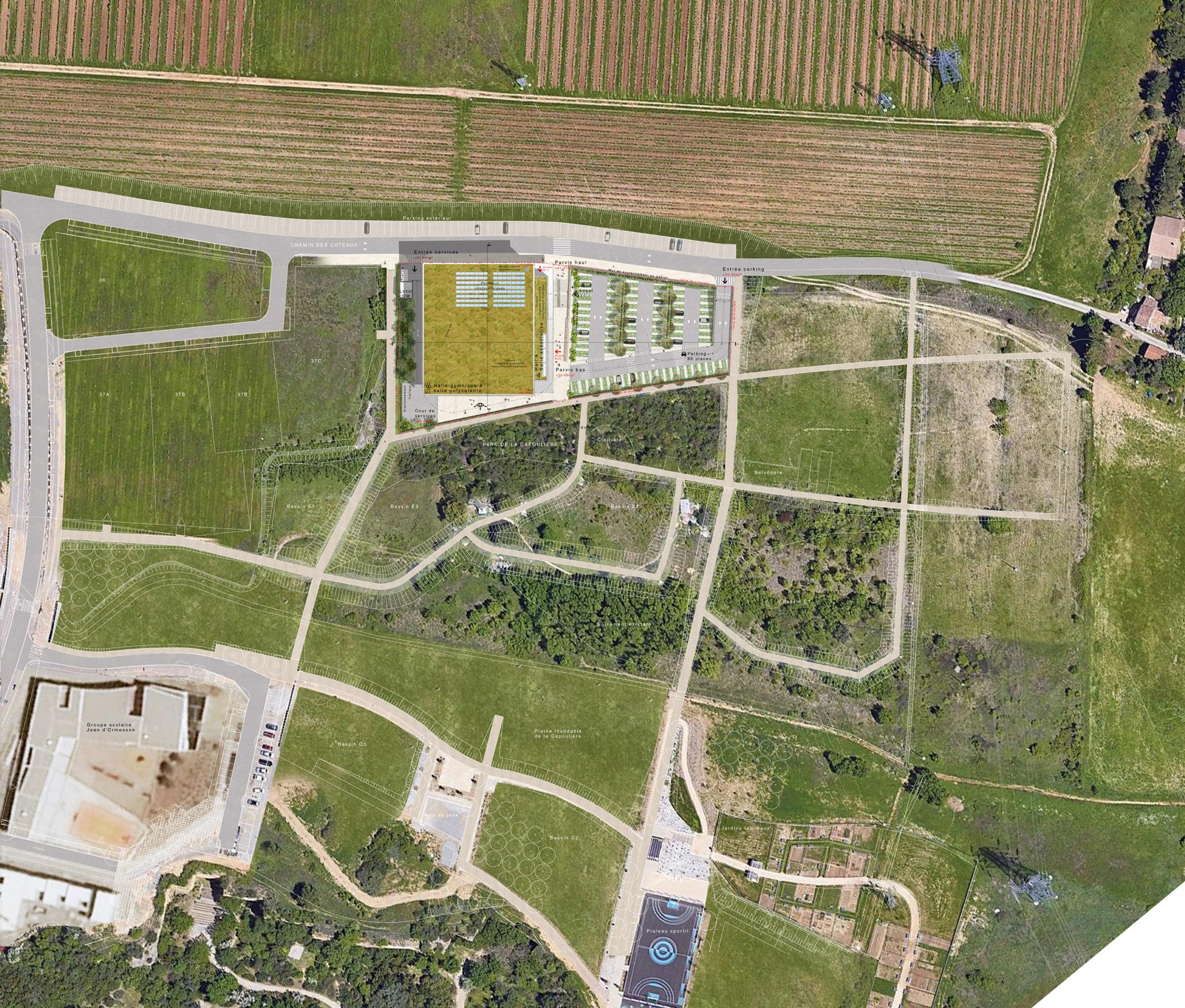Plan de masse - salle polyvalente et halle gymnique St Jean de Védas