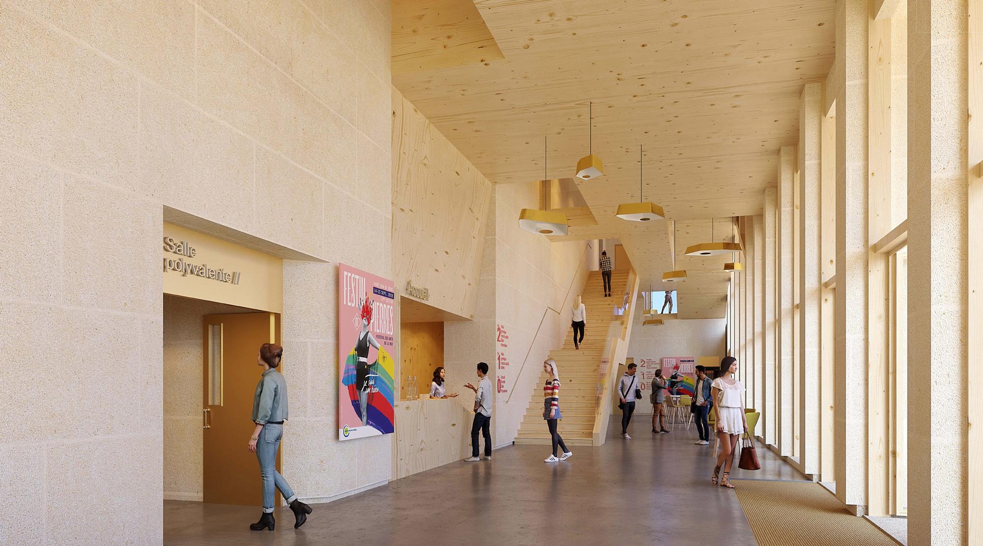 Perspective intérieure salle polyvalente et halle gymnique St Jean de Védas