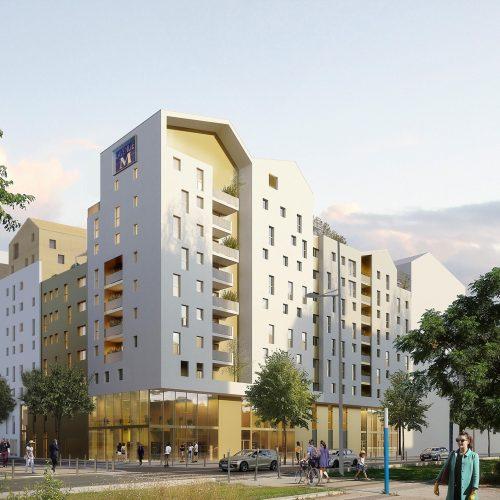 Perspective d'ensemble - ACM 79 logements collectifs ZAC République  Montpellier