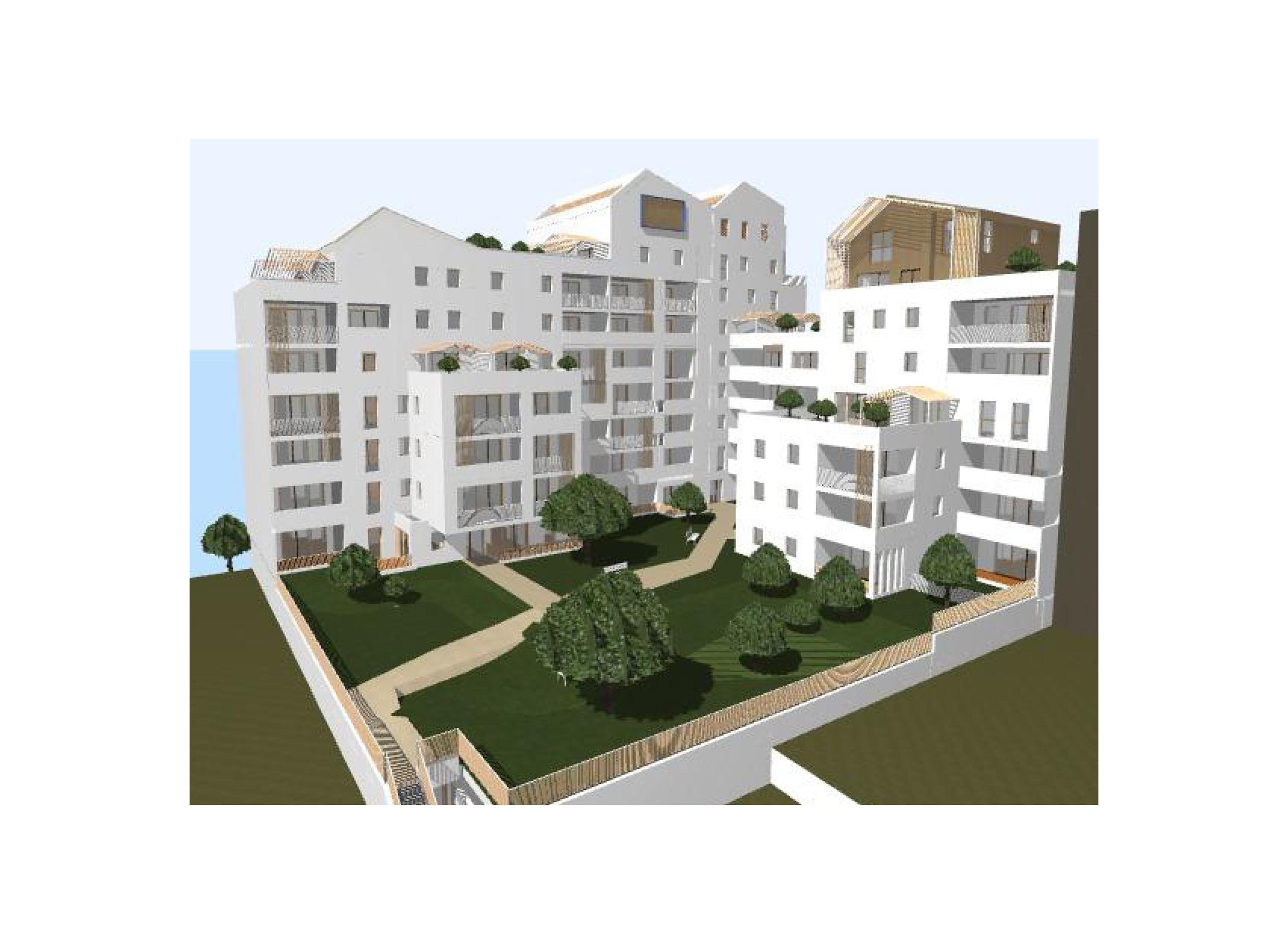 ACM 79 logements collectifs ZAC République Montpellier_Vue sur le coeur de l'ilot