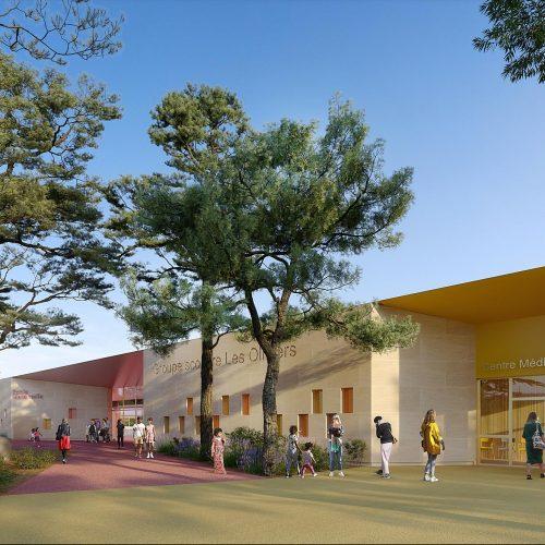 Groupe scolaire les Oliviers à Béziers - Perspective d'ambiance sur le parvis d'entrées