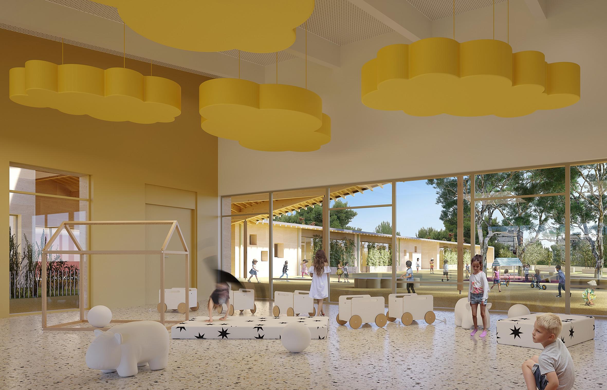 Groupe scolaire les Oliviers à Béziers - Perspective sur salle plurivalente et sur cour intérieure