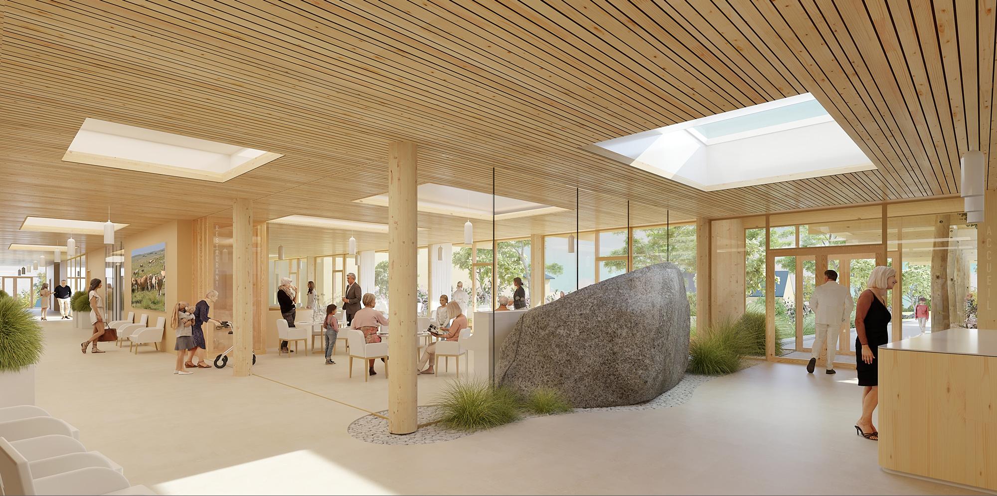 Argences en Aubrac_Pôle intergénérationnel - Hall et rue intérieure - projet Architecture Environnement