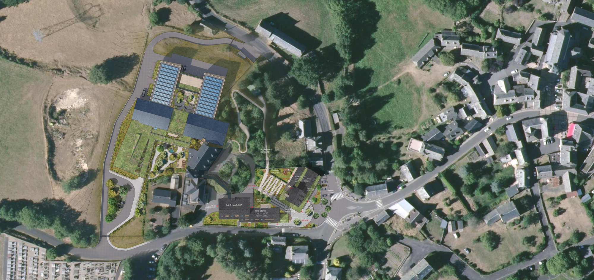 Argences en Aubrac_Plan de masse Pôle intergénérationnel - projet Architecture Environnement