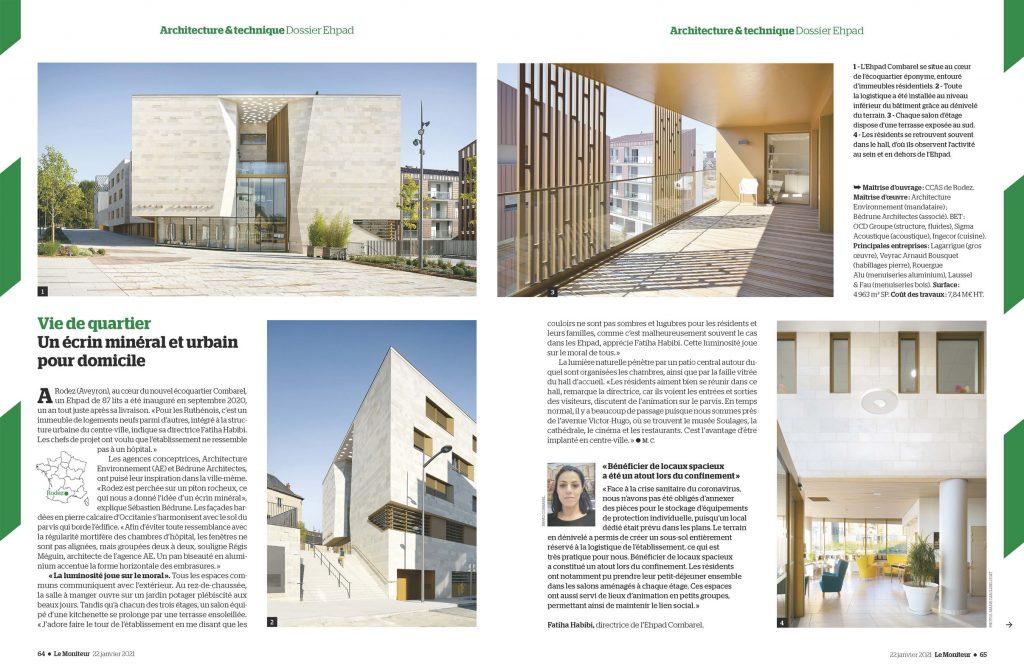 """Le Moniteur n° 6122 du 22 janvier 2021_Dossier EHPAD_Extrait EHPAD Rodez """"Un écrin minéral et urbain pour domicile"""""""